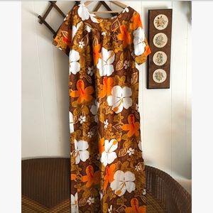 Vtg Hawaiian Maxi Dress